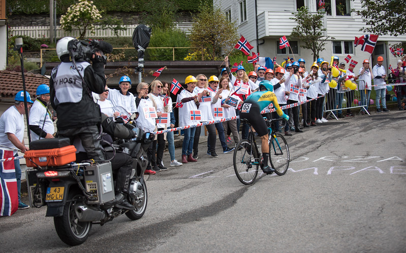 A. Lutsenko up mount Fløyen in The Cycling Road World Championships Men Elite Individual Time Trial 20/9-2017.
