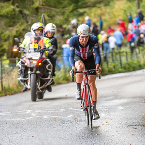 Joseh Rosskopf up Mount Fløyenup Mount Fløyen in The Cycling Road World Championships Men Elite Individual Time Trial 20/9-2017.