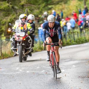 Joseh Rosskopf up Mount Fløyenup Mount Fløyen in The Cycling Road World Championships Men Elite Individual Time Trial 20/9-2017.