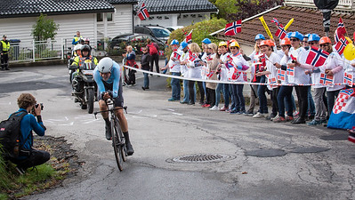 L. De Plus up Mount Fløyen in The Cycling Road World Championships Men Elite Individual Time Trial 20/9-2017.