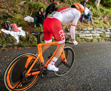 Maeusz Taciaki up Mount Fløyen up Mount Fløyen in The Cycling Road World Championships Men Elite Individual Time Trial 20/9-2017.