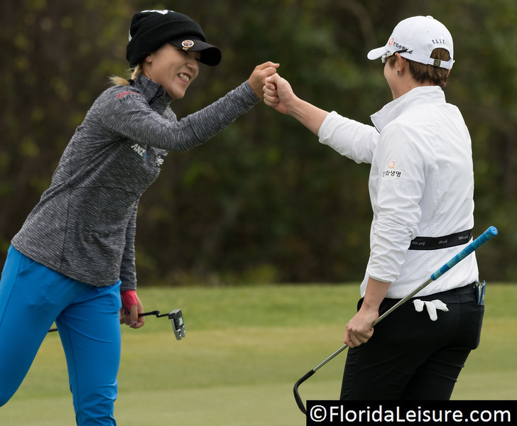 Lydia Ko (left) and Eun-Hee Ji (right) at 2019 Diamond Resorts Tournament of Champions, Tranquilo Golf Course, Lake Buena Vista, Florida - 17-20 January 2019 (Photographer: Nigel G Worrall)