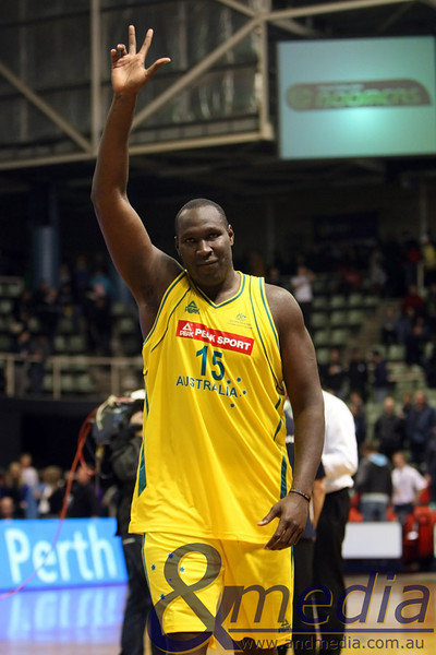 250610AUAR1014 FIBA Mens - Australia vs Argentina - 25th June 2010 Australian centre Nathan Jawai acknowledges the crowd after the Boomers 97-58 defeat of Argentina. Photo by Travis Anderson - Andmedia ©2010.