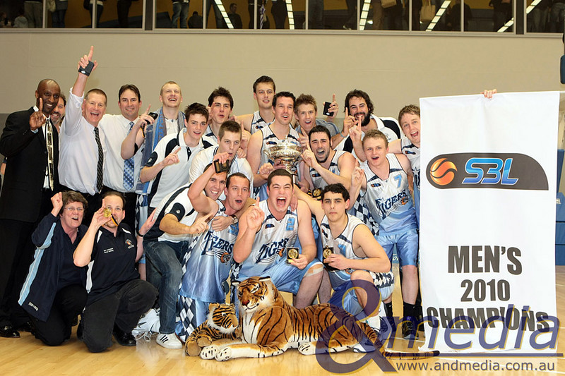 220810kalsbl3supp SBL Mens Grand Final - Lakeside Lightning vs Willetton Tigers - 21st August 2010 The Willetton Tigers celebrate their maiden SBL mens championship. Photo by Travis Anderson - Andmedia ©2010.