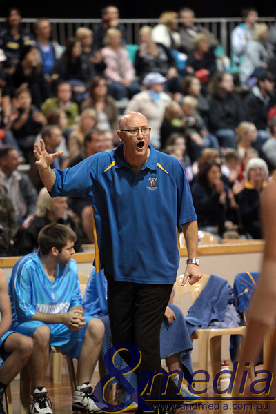 290510GGCC6886 SBL - Goldfields Giants vs Cockburn Cougars - 29th May 2010 Former Giants' and now Cougars' head coach Stephen Charlton shows his displeasure at a referee's decision in his first visit back to Neils Hansen Stadium in opposition colours. Photo by Travis Anderson - Andmedia ©2010.