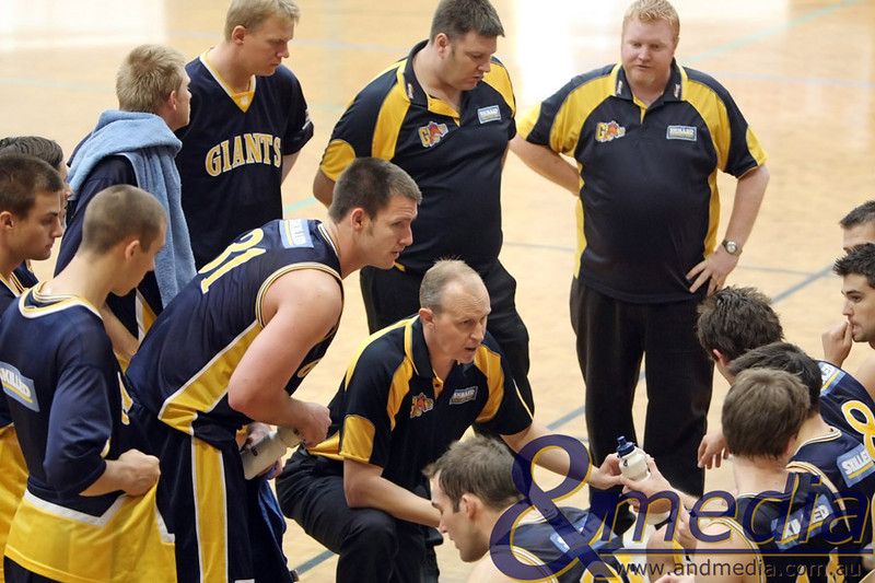 070610PRGG0043 SBL - Goldfields Giants @ Perth Redbacks - 7th June 2010 Giants' coach Wayne Creek talks to his team during a timeout during the first quarter of their match against the Perth Redbacks in Belmont. Photo by Travis Anderson - Andmedia ©2010.