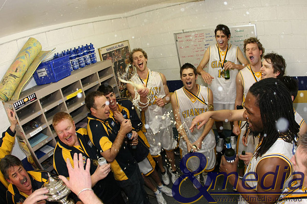2008 070908kalgiants3ta 2008 SBL Grand Final Goldfields Giants vs Willetton Tigers Giants players and officials celebrate in style in the changerooms after being crowned 2008 SBL Champions.