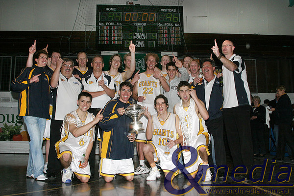2007 080907GGLL6741 SBL Mens Grand Final - Goldfields Giants vs Lakeside Lightning - 8th September 2007 The SKILLED Goldfields Giants celebrate their inaugural SBL Championship after a 2 point victory over the Lakeside Lightning. Photo by Travis Anderson - Andmedia/Pro Sports Images ©2005.