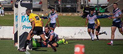 Jack Wighton scores during the Canberra Raiders trial match against the Sydney Roosters at Seiffert Oval in Queanbeyan.