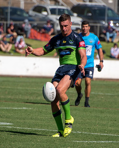 Jack Wighton during the Canberra Raiders trial match against the Sydney Roosters at Seiffert Oval in Queanbeyan.