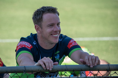 Sam Williams stretching during the Canberra Raiders v Sydney Roosters trial match