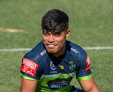 Matthew Timoko on the sideline during the Canberra Raiders v Sydney Roosters trial match