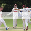 Sudbury celebrate the wicket of Jaik Nikleburgh 3. Picture by Gary Donnison