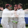 Sudbury celebrate the wicket of Jaik Nikleburgh 1. Picture by Gary Donnison