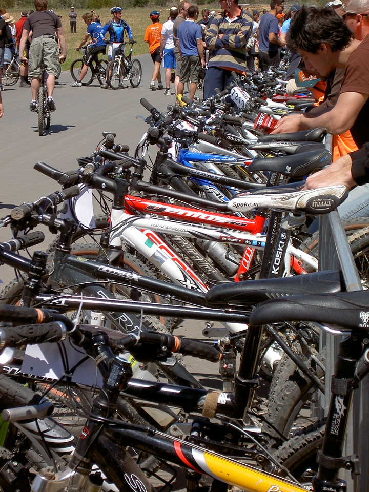 Bikes lined up for the start