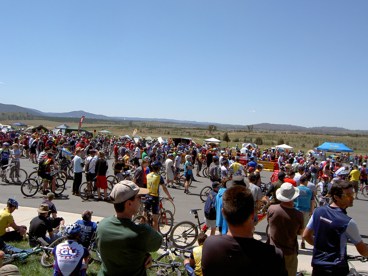 Riders mill around for the start