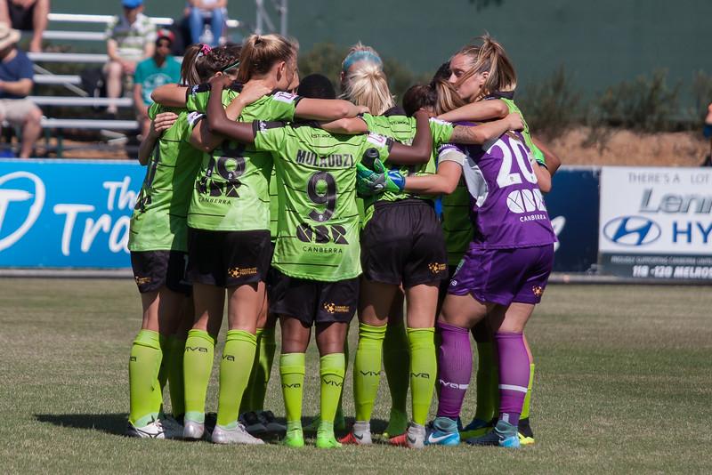 Canberra United Team huddle