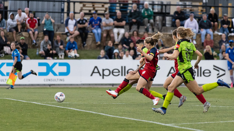 Michelle Heyman shot at goal