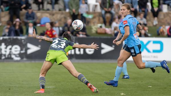 Michelle Heyman crafting a header at goal