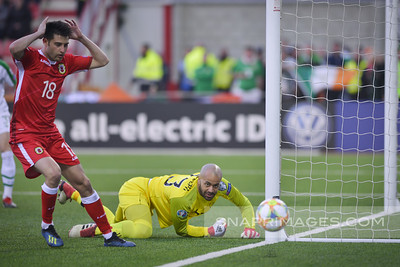 Images of the Euro Qualifier between Gibraltar and Republic of Ireland played at Victoria Stadium, Gibraltar on 23rd March 2019.