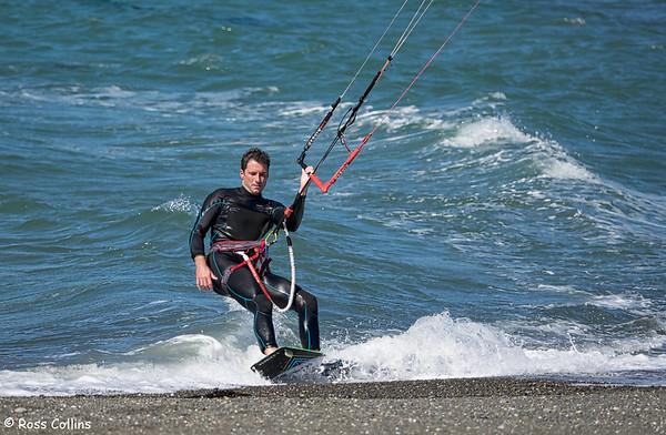 Kitesurfing at Seatoun Beach, Wellington, 21 March 2015