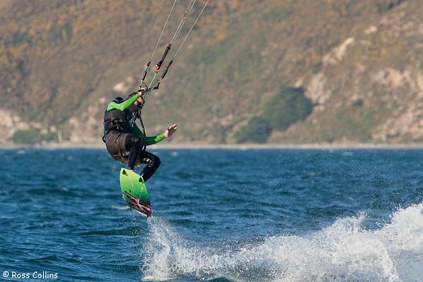 Kitesurfing at Seatoun Beach, Wellington, 17 April 2010