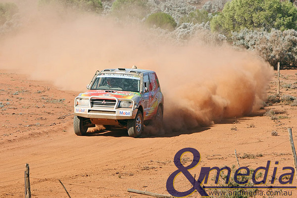 090809kalsafari2supp 2009 Australasian Safari - Leg Seven Eventual race winners Stephen Riley and John Doble guide their Mitsubishi Pajero the terrain near Louis Dam on Woolibar Station during the final stage of the 2009 Australasian Safari. Photo by Travis Anderson - Andmedia
