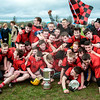 030814  Munster Colleges Senior B' Hurling Final  Colaiste Phobal Roscrea v Cashel Community School.    Colaiste Phobal Roscrea Senior B Hurling team celebrate  after Victory over Cashel Community School in the Munster Colleges Senior B' Hurling Final played in Templemore last Saturday.  Photo Andy Jay.