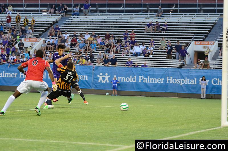 Long Tan opens the scoring for Orlando City Soccer vs. Charleston Battery, USL PRO Play Off Semi Final, Orlando, Florida - 30 August 2013 (Photographer: Nigel Worrall)