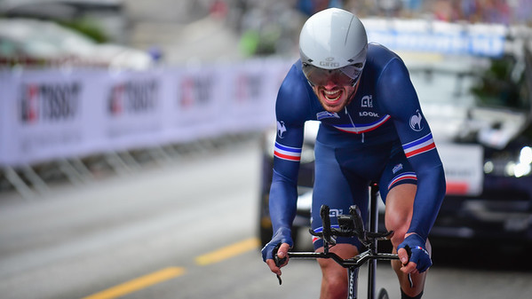 F. Lecamus Lambert up Birkelundsbakken in The Cycling Road World Championships Men Junior Individual Time Trial 19/9-2017.