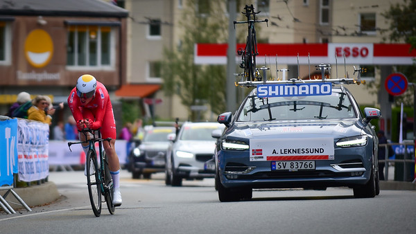A. Leknessund down Nattland Road in The Cycling Road World Championships Men Junior Individual Time Trial 19/9-2017.