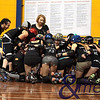 130211GCRD0005<br /> Gold City Roller Derby Presents... The Bloody Valentine Bout - Bleeding Hearts vs Rotten Candy @ Neils Hansen Stadium - 12th February 2011<br /> Rotten Candy with bench manager Sid Down and assistant Fanny Green in their team huddle before the big bout.<br /> Photo: TRAVIS ANDERSON - Andmedia ©2011.