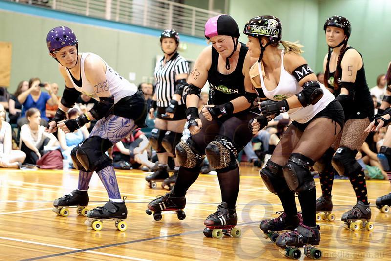 "WA Roller Derby present - ""The Black Tie Brawl''- Bout 1: Les Chats Noir vs The Light Fantastics  Photo: ANDMEDIA"