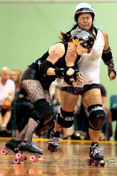"WA Roller Derby present - ""The Black Tie Brawl''- Bout 2: The Whitehot Foxtrots vs Midnight Tangos  Photo: ANDMEDIA"