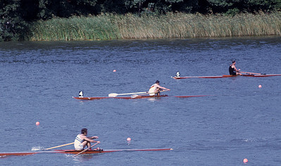 Single Sculls Final: Arg, DDR, NZ (1. Alberto Dimiddi, 2. Götz Draeger)