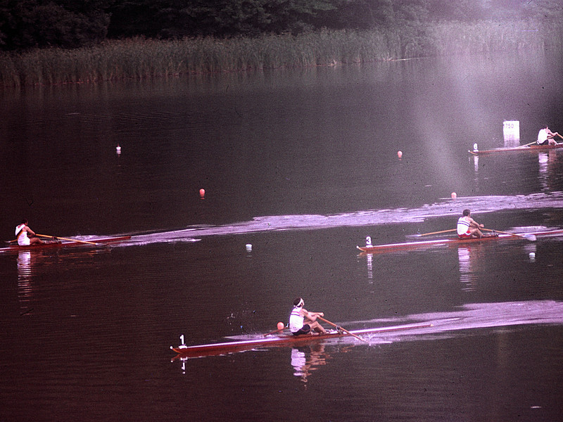 Heats of the Single Sculls, Dietz (USA), Draeger (DDR), Dimidi (Argentina), Dwan (GB)