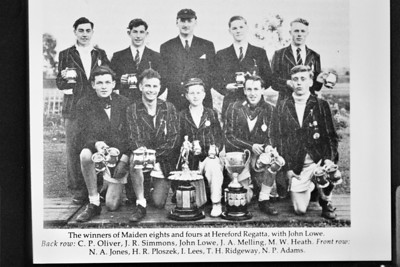 KSRC, winners of Maiden VIIIs and IVs at Hereford Regatta 1953