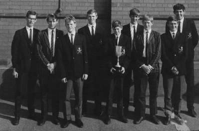 1st VIII 1968, Sir John Deane's Grammar School (presumably having won at Midland Schools' Regatta) l-r: Warburton, Wilkes, Barrow, Bolshaw, Starkey, Batty, Chivers, Matthews, Sullivan