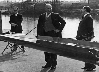 "Launching of the 1st VIII's new boat, ""D J Roberts"" (a Donaratico copy by Phelps)"