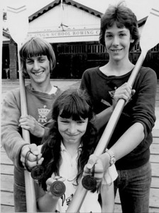 J16 pairs bronze medal: National Championships July 1979 AP Manning (bow), AS Duligall (str), N Leach (cox - Athena)