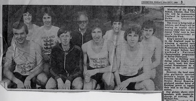 KSRC representing England in the Home Counties International at Athlone. July 1980