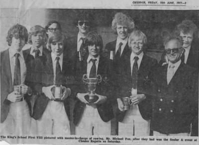 1977 1st VIII won Snr A at Chester Regatta
