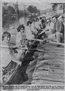 1974 1st VIII: Last training outing before Henley. With MCF and the MP for Chester