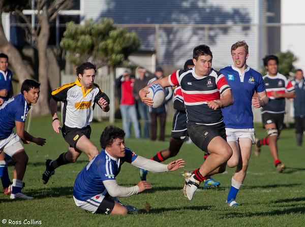 Jackson Garden-Bachop (Scots College) with referee Mat Goodger © 2012 Ross Collins