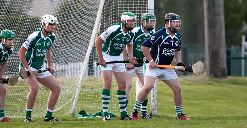 EEjob 24/06/2017 SPORT GAA IHC  Douglas v Ballincollig in Church Road.   Ballincollig goalie Ronan Cambridge with his team mates prepares for a free in.  Picture: Andy Jay