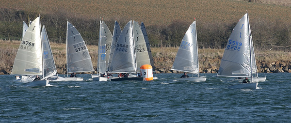 Busy at the gybe mark in race 1