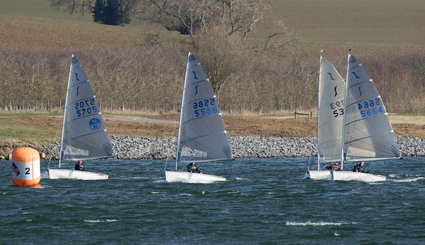 The leaders approaching the gybe mark after the first reach of the second race