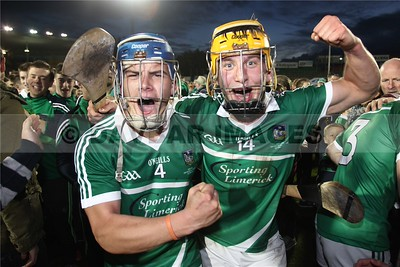 Michael Casey and Tom Morrissey celebrate after Limerick's win in the All-Ireland Under 21 Hurling Championship Final (September 2015)