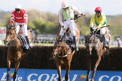 Coneygree, Djakadam and Sizing John jump the last together in the Coral Punchestown Gold Cup (Grade 1) at the Punchestown Festival (April 2017)