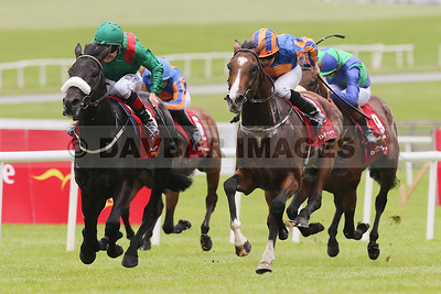 Harzand and Pat Smullen on the way to win the Dubai Duty Free Irish Derby at the Curragh (June 2016)
